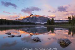Two Jack Lake Sunrise (Jaykhuang) Tags: canada sunrise reflections spring alberta mtrundle twojacklake banffpark jayhuangphotography