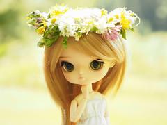 Flower Halo (Saga) Tags: flowers light sun white flower green girl doll dress bright meadow dal full wreath groove pullip custom mikiyochii