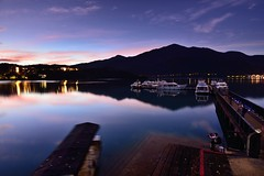 Dawn at Sun Moon Lake  (Vincent_Ting) Tags: morning sunset sky lake water clouds sunrise dawn pier taiwan galaxy   crepuscularrays  sunmoonlake milkyway                  vincentting