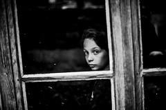 Interception (PaxaMik) Tags: portrait window noir noiretblanc fenster fentre regard throughthewindow interception nb portraitnoiretblanc