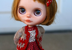 My little Noelle (zsofianyu) Tags: brown eye art shop one for eyes doll dress handmade unique ooak s chips clothes kind bow lad blythe neo freckles etsy custom pure takara nicky cardigan seller tomy fa adoption neemo eyechips puppelina