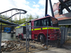 Fire Engine the Swarm (Emergency_Vehicles) Tags: park uk rescue london fire near may surrey used thorpe area roller theme around dennis winged coaster appliance hertfordshire swarm chertsey the 2013