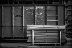 cleanScape Indeed (Doug Knisely) Tags: seattle street bw night dumpster evening nikon pipes constructionsite rectangles walkaround d600 cleanscape