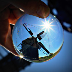 blue (Hnsel & Gretel) Tags: blue sky sun reflection mill glass windmill germany hand saxony crystalball lausitz oberlausitz bockwindmhle flickrchallengewinner kottmarsdorf deutschermhlentag