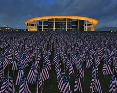 Golden hour at Long Center with 7000pcs American flags