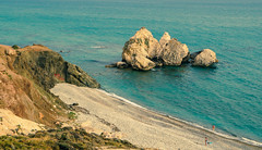 Landscape near the rock of Aphrodite (Alexandros Constantinides) Tags: blue sea beach water rock swim sand sony cyprus pebbles clear aphrodite slt paphos pafos a57