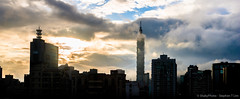 Waking Up Taipei (shakyphoto) Tags: city travel light sunset sky urban sun skyline clouds sunrise canon buildings landscape photography dawn photo asia raw photos dusk taiwan 101 taipei dslr shakyphoto distagont235 instagram stephenlim