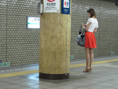 waiting for her train