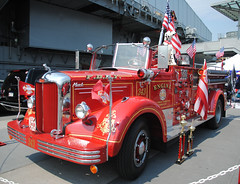 FDNY Firefighter Appreciation Weekend  and The Blessing of the Fleet at The Intrepid 7/20/13 (zamboni-man) Tags: new york city roof rescue ford truck river boats outside demo fire vent pier marine fighter chief towers engine police twin ground center pd hose september special dodge driver hudson ladder trailer 11th soc signal ems zero federal fdny department command kme ops hazmat seagrave fd merv ov pumper battalion whelen 2011 dicision batalion comand ferera