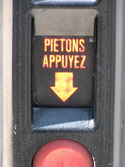 Pietons Appuyez (K.G.Hawes) Tags: red france sign french crossing cross lyon walk creative commons pedestrian cc creativecommons button pedestrians push arrow crosswalk press signal lyons pietons lyonnaise lyonnais appuyez
