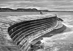 Cobb Curve (Carolbreeze99) Tags: ocean morning sea bw texture lines stone wall harbour wave massive dorset cobb curve lymeregis lyme jurassiccoast matchpointwinner mpt299