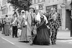 Pearlies at the Harvest Festival - Their Majesties in mono (stugee) Tags: street london st canon photography eos mary east queens kings le bow end pearly princesses pearlies 60d