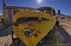 Old Darwin Chevy Truck (HavCanon.WillTravel) Tags: ca yellow darwin chevy deathvalley hdr 190 oldtrucks fdrtools canon5dmkii ef815f4fisheyelens
