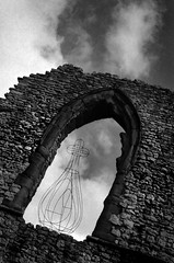 Project Archives: Art in Ruins (Pictures from the Ghost Garden) Tags: blackandwhite bw sculpture art castles film monochrome 35mm blackwhite olympus xp2 installation dudley analogue ilford om2 westmidlands rietveld blancetnoir dudleycastle weissundschwarz