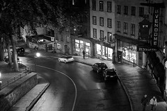Quebec by Night, Canada (bm^) Tags: ca city travel urban blackandwhite bw white canada night zeiss blackwhite nikon quebec zwartwit nacht reis stedelijk carl zwart wit stad reizen blackwhitephotos planart1450 d700 zf2 planar5014zf nikond700