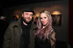 Exhibiting artist Eric Richardson with Erica Berkowitz (lastritestattoo) Tags: nyc friends sculpture art painting drawing surrealism events books fantasy realism lastrites openingreception paulbooth mattdangler michaelmararian lastritesgallery