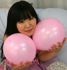 What's More Fun Than Drinking? (emotiroi auranaut) Tags: pink woman cute beautiful beauty japan lady balloons toys tokyo nice model pretty gorgeous adorable attractive lovely playful squeak