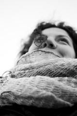Guardare in avanti (Fr3dd3rico) Tags: winter portrait blackandwhite bw woman cold love girl smile donna eyes girlfriend bn occhi sguardo e sorriso grayscale lover inverno bianco ritratto freddo nero amore federico ragazza fidanzata fr3dd3rico fredderico