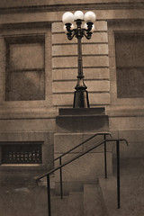 Stairs and Lamp: No.33 (Ross G. Williams) Tags: postoffice lith toned pictoral elmirany