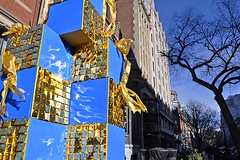 Blue-and-Gold Corner (AntyDiluvian) Tags: blue holiday reflection boston shop shopping gold mirror store massachusetts decoration newburystreet boutique ribbon backbay