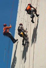Fun at Work (Jocey K) Tags: newzealand christchurch sky people building wall shadows nz ropes abseiling rydgeshotel earthquakerepairs