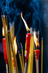 Burning (Keith Mulcahy) Tags: morning people buildings temple hongkong candles smoke streetphotography jordan flame kowloon incense templestreet canon70200mmf28 canon5dmk3 keithmulcahy january2014 blackcygnusphotography ppa7a0 ppd56c
