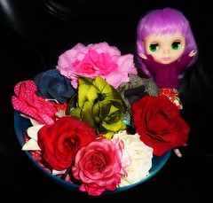 Isolde Brittany: OMG! Just look at all these pretty roses! (11/28--Roses) (Bebopgirl1969) Tags: roses blythe fabricroses lavenderhug