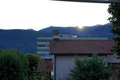 setting sun over the RSI offices in Lugano