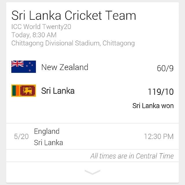 Great job  Sri Lanka Cricket Team!  @ICC World Twenty20  #WT20 #SLvNZ #SLcricket team @officialSLC @ESPNcricinfo #srilankan