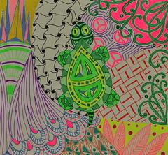 First Turtle (BKHagar *Kim*) Tags: color lines design colorful turtle doodle pens gel forjamie zentangle bkhagar