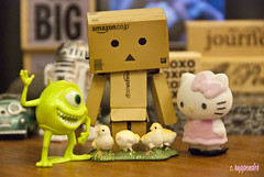 Danbo's gang encounters chicks (PoetC7) Tags: chickens mike toys dolls hellokitty chicks danbo danboard