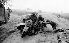 """Soldiers from Totenkopf Division struggle to move a BMW R12 motorcycle • <a style=""""font-size:0.8em;"""" href=""""http://www.flickr.com/photos/81723459@N04/14140215416/"""" target=""""_blank"""">View on Flickr</a>"""