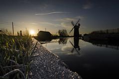 Horsey Mill Frost (butterflyeffectphotography) Tags: sun reflection mill windmill sunrise river mirror golden nikon frost wind norfolk sails pump national trust horsey drainage broads windpump d7000
