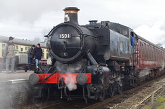 1501 GWR 1500 class 0-6-0 Pannier Tank engine, Quorn & Woodhouse station, 1st February 2015 (OG47) Tags: train railway locomotive steamengine gwr steamlocomotive greatcentralrailway gcr railwayengine 1501 uksteam smcpentaxk50mmf12 smokesteam panniertankengine 060pt 15xxclass pentaxk5