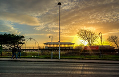 Marine Way (graeme murray - digitalplaces) Tags: winter sunset lake pier marine afternoon tram southport