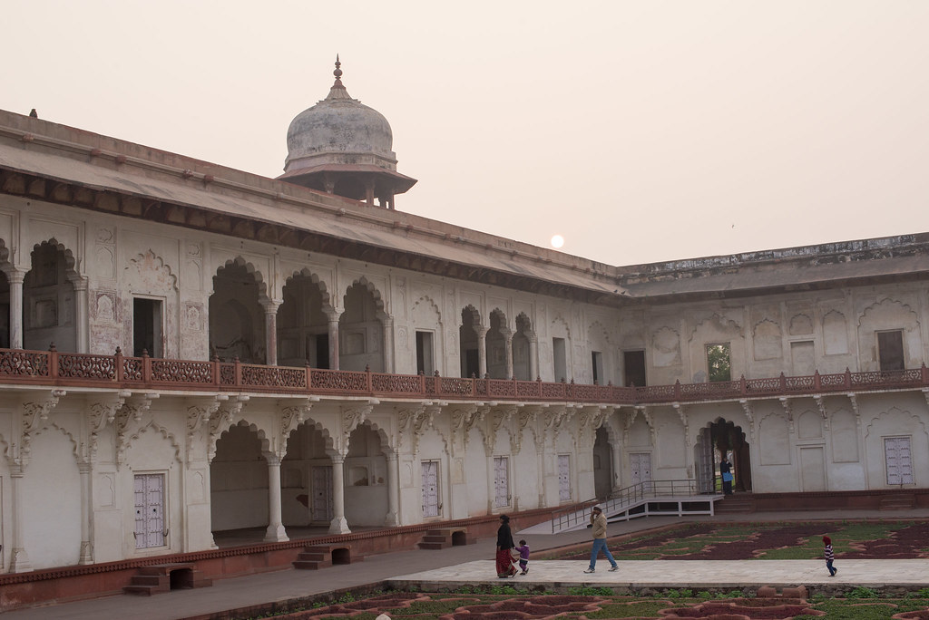 Red Fort of Agra at sunset
