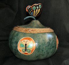 BUTTERFLY BOWL back (KayLov) Tags: blue flower green bronze ink butterfly circle insect cord gold back paint metallic decorative side wing bowl rope carve burn gourd round perch daisy string decor antenna lid pyrograph