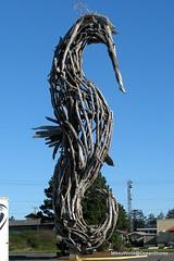 Erection (MK) Tags: statue sticks downtown seahorse driftwood bonfire conventioncenter local oceanshoreswa chancealamer oceanshoresconventioncenter weinieroast driftwoodstatues