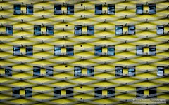 Lemonated (Fred-Adams) Tags: city urban abstract building london lines yellow lemon ribbons pattern lookup flats repetition housing hackney linear stokenewington abstractarchitecture studenthousing fredadamsphotography