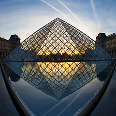 Diamonds and Contrails (Harold Davis) Tags: louvre pyramide