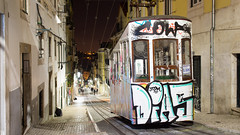 Ascensor da Bica (Joe Dunckley) Tags: street portugal night graffiti lisboa lisbon hill transport tram vandalism ascensor streetscape elevador steep bica elevadordabica funicularrailway ascensordabica bicafunicular