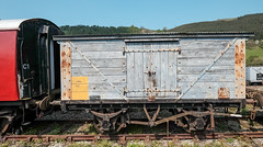 Wooden Carriage (canong2fan) Tags: wood wales blue wheels fujifilmxe2 carrog langollen train carriage tracks painted goods europe uk red rust rollingstock