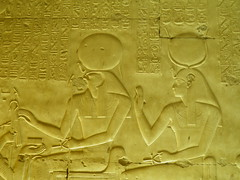 Abydos, Seti I Temple, Re-Horakhty chapel, south lateral wall, Re-Horakhty and Iusas (dr.heatherleemccarthy) Tags: sculpture monument stone writing temple ancient stonework text egypt chapel relief seti hieroglyphs deities abydos rahorakhty iusas