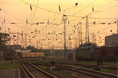 (engine9.ru) Tags: sunset sky russia railway wires