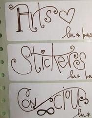 (lu.glue) Tags: brown white blanco sticker letters braun schrift marron weiss bianco blanc brun lu lettres marrone autocollant kleber buchstaben fabercastell fineliner luglue crtiture