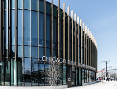 Chicago Public Library Chinatown DSC01414 (nianci pan) Tags: urban chicago abstract reflection building geometric illinois chinatown pattern geometry library sony indoor line pan curve sonyalphadslr nianci sonyphotographing archistract