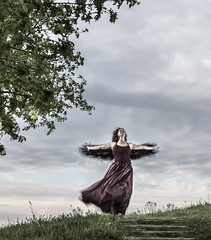 Part 6 of a fairytale (nokkie1) Tags: woman tree clouds dance dress princess wind flash hill eindhoven fores fairytail meerhoven leaveas