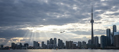 TORONTO SKYLINE SERIES (blink to click) Tags: tdot toronto ontario canada downtown landmark buildings skyscrapers highrise architecture architectural cntower tourism tourist sky tall skyline blinktoclick blink2click nikond750 godrays sunbeams clouds water lake lakeontario airplane plane landing flying airport sailboats boats sailing skydome rogerscentre