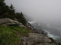 Rugged cliffs in the fog on the north side of Monhegan Island (bdnils) Tags: landscape fog cliffs monheganisland maine