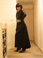 Black Encounter (4) (Furre Ausse) Tags: black leather belt dress boots skirt gloves satin dominant governess